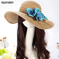 iEASYSEXY Brand 2017 Korean Style Summer Sunscreen Sunshade Straw Cap Hand-knitted Women Adult Casual Beach Hat With Moth Orchid