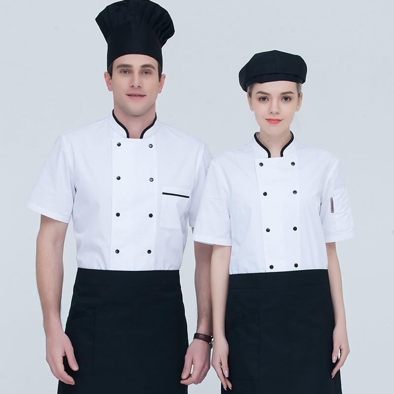 Chef's Overalls Short-sleeved Chef Jacket Adult Kitchen Work Uniform Adult Western Restaurant Chef Jacket Lady's Workwear B-6594