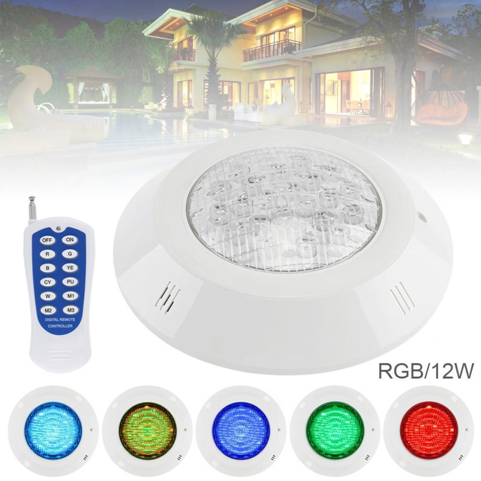 12 LED 12 V 12 W RGB 3000 K télécommande murale étanche lumière sous-marine Multi couleur lumière pour piscine extérieure