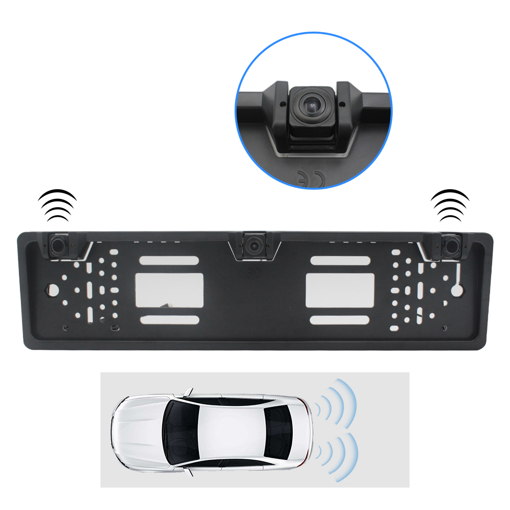 European Car Number License Plate Frame Rear View Camera Night Vision Reverse Backup Parking kamera cofania with 2parking sensor(China)