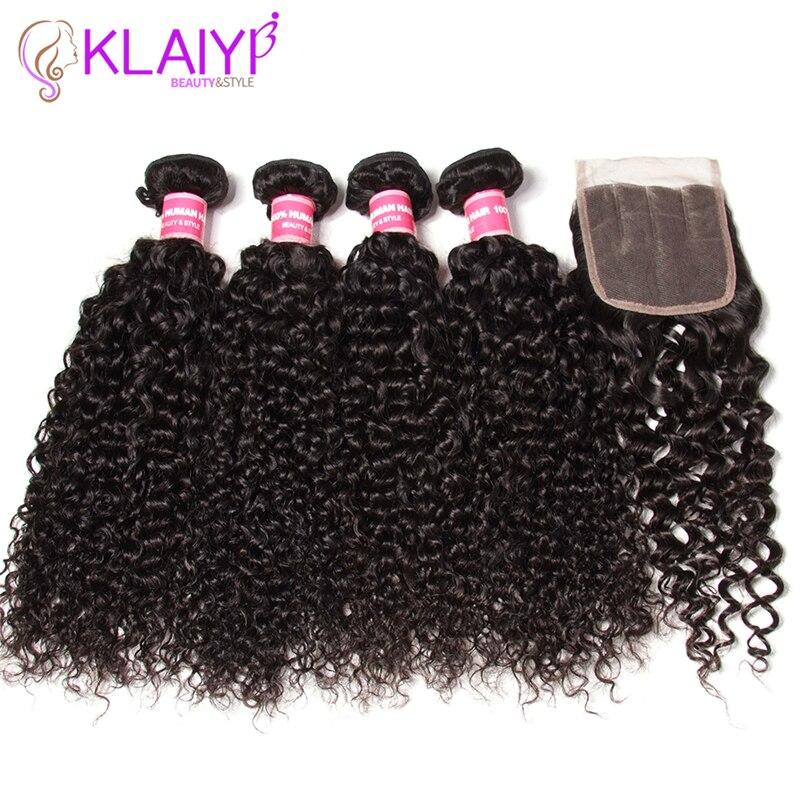 Klaiyi Curly Hair Malaysian Hair Bundles With Closure Free Part Swiss Lace Remy Human Hair Bundles With Closure Natural Color