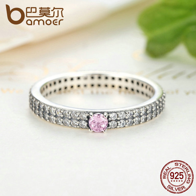 Sterling Silver Pink Stone with Small Crystals Ring