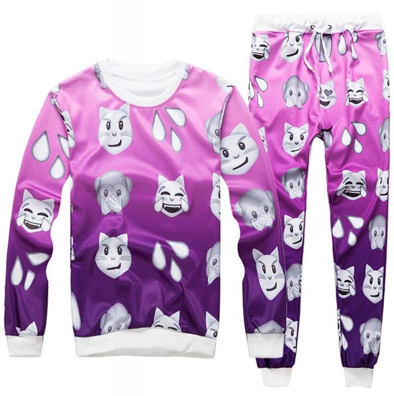 100 emoj printed 3D sweat suit hip hop tracksuit men/women fashion joggers+hoodies moleton masculino Free shipping