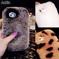 Aokin Luxury Case For iPhone 7 7plus Genuine Rabbit Hair Fluffy Fur Diamond  Back Cover For Apple iPhone 6 6plus Girl Soft Shell