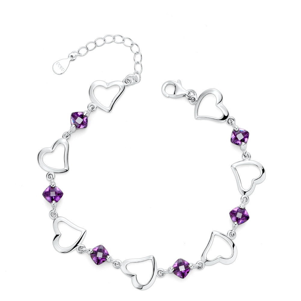 Charm Bracelets&Bangles,925 sterling silver bracelets for women, finepurple Crystal charm bracelets jewelry free shipping RJ171