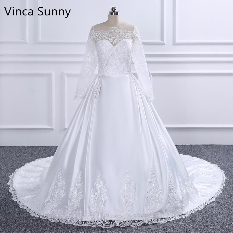 Vintage Lace Long Sleeves Wedding Dress Plus Size 2019