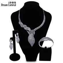 DreamCarnival 1989 Elegant CZ Jewellery Wedding Bride 3 pieces Set for Women Marriage Must Have Katar Bahrain Hot Selling B16618(China)