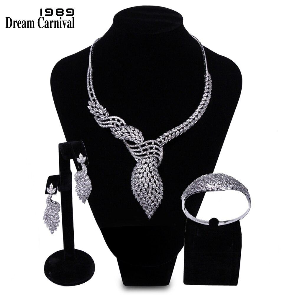 DreamCarnival 1989 Succulent Riche Bijoux Blanc Cubique Zircone AAA Qualité De Mariage Mariée 3 pièces Ensemble pour les Femmes Mariage B16618