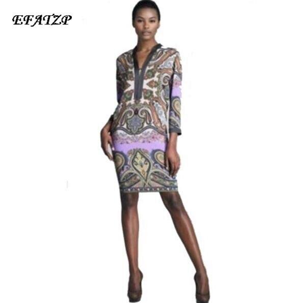Free Shipping Designer Brand Dress Women s Charming Print Jersey Silk 3 4 Sleeve Casual Dress
