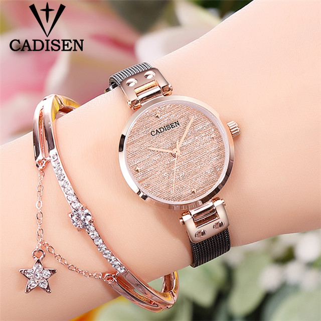 CADISEN 2019 New Women's Watches Ladies Luxury Brand Watch Fashion Lady Quartz Wristwatch Gold Sapphire Crystal Dial Reloj Mujer-in Women's Watches from Watches    1