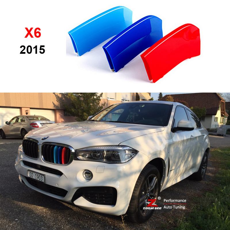 3D M Styling Front Grille Trim motorsport Strips grill Cover performance Stickers for 2015 2016 BMW X6 F16 motorsport manager [pc jewel]
