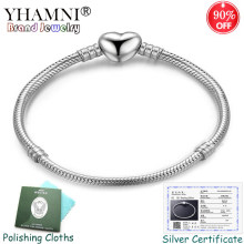 Sent Certificate! 100% Real 925 Sterling Silver Heart Shape Charm Bracelet Snake Bone Chain DIY Beads Bracelets for Women ABL191(China)
