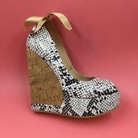 Snakeskin Women Pump Wedge High Heels Platform Peep Toe Sapato Feminino Shoes Woman High Heel Ankle Strap Heels Platform Wedge
