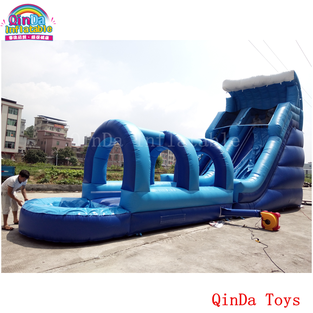 Commercial grade large air tube slide, 12*4*7m giant inflatable water slide for outdoor games giant pvc commercial inflatable water slide with pool for sale