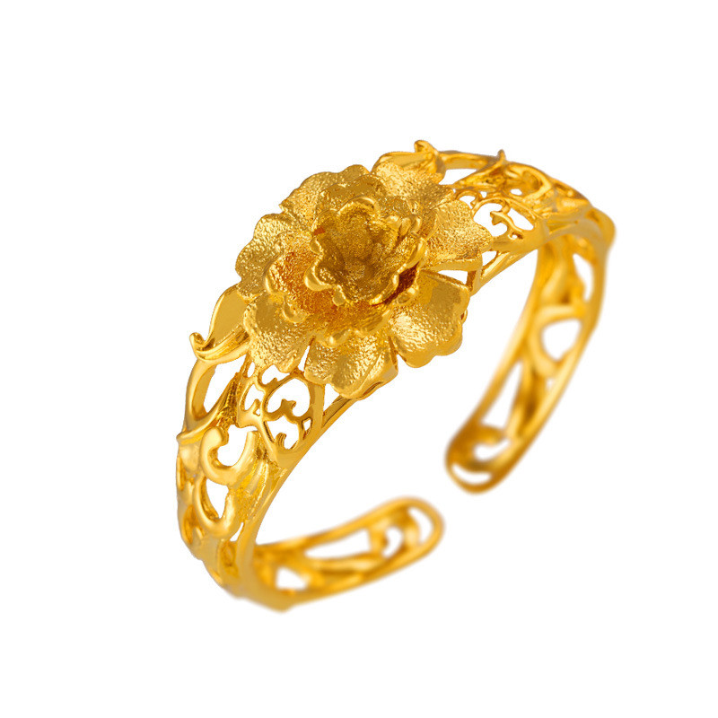 Retro Bridal Bangle Yellow Gold Plated Hollow Out Flower Bracelet Fashion Cuff Bangle