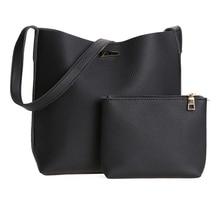 2017 2pcs set New European Women PU Leather Bag Barrel Shoulder Bag Handbag Shopping Bag with