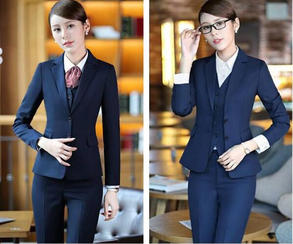 Uniforme Styles Vêtements 8622b Femmes 8622b D'affaires Élégants De Blue Travail Dark Costumes Ensembles black B276 Bureau Casual Formelle Pantalons 3 Pièce nUxOw8q1t7