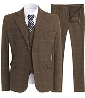 Mens 3 Piece Slime Fit Business Suits Wool Blend Herringbone Tweed Suit Vintage