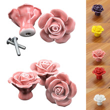 Rose Flower Handles Cabinet Ceramic Knobs Flowers Kitchen Handles Dresser Closet Kids Bedroom Furniture 5 Colors 7A0499(China)