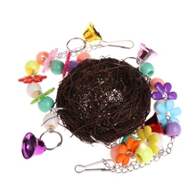Натуральный Ротанг гнездо птица качели игрушка с колокольчиками клетка окунь подставка для попугая попугай Попугай Cockatiel