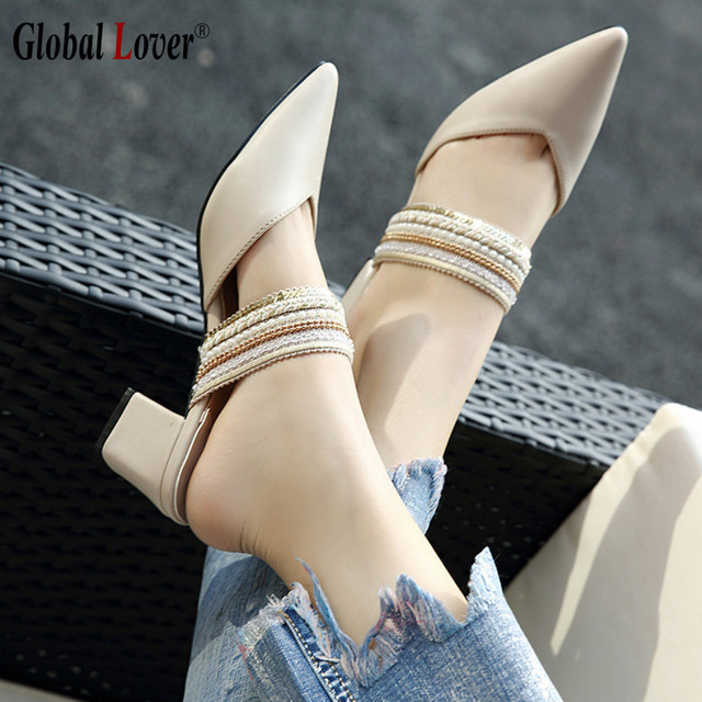 7f2af86200f80 US $43.49 |Global Lover Womens White Sandal Square Thick 5cm Heel Shoes  Vintage Pointed Toe Heels Fashion Women Elegant Pumps Black-in Women's  Pumps ...
