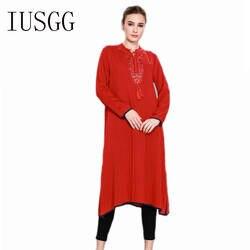 Новый длинным рукавом Абаи s кафтан арабских женское платье Турции Дубае Стиль Ближний Восток мусульманский Для женщин по колено модные