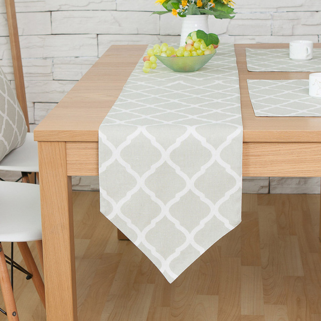 1PC North Europe Style Light Green Cloth White Stripes Rectangle Linen Cotton  Table Runner For Home