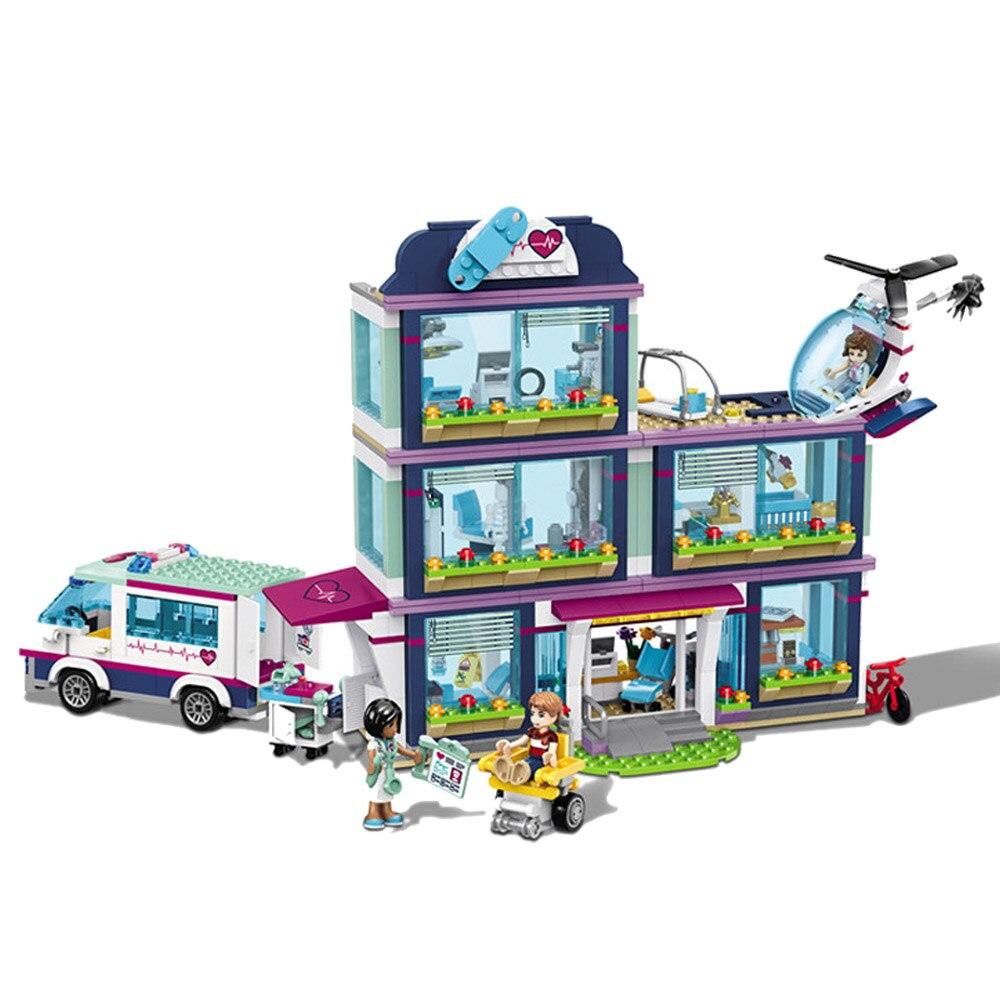 En stock NOUVEAU 932 pièces Heartlake Ville Parc Amour L'hôpital Fille Amis Building Block Compatible Avec Légèreté amis 41318 jouet de construction