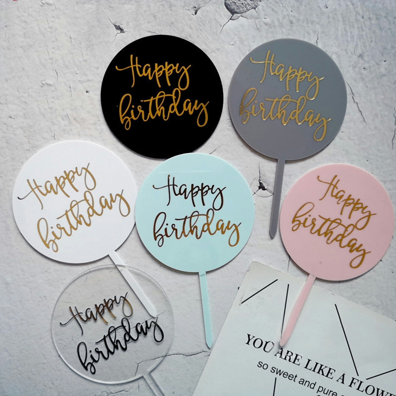 Happy Birthday Cake Toppers Round Heart Star Shape Acrylic Cake Topper For Birthday Cake Decor Flag Party Supplies Cake Decor