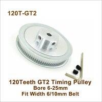 POWGE 120 Zähne 2GT Timing Pulley Bohrung 6 25mm Fit W = 6/10mm 2GT Synchron gürtel 120 T 120 Zähne GT2 Pulley 3D Drucker 120 2GT-in Riemenscheiben aus Heimwerkerbedarf bei
