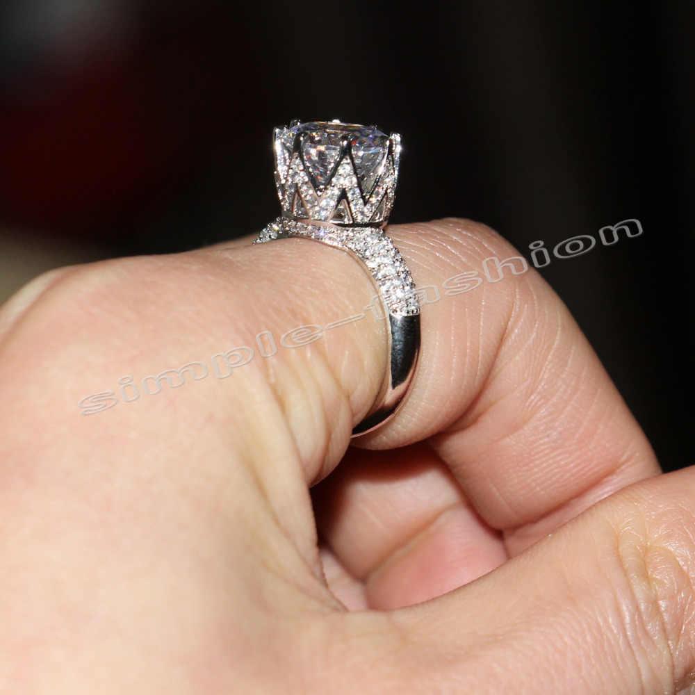 Модное ювелирное изделие, ручная работа, пасьянс, 10Ct, драгоценный камень 5А, циркон, камень, 925 пробы, серебро, Женское Обручальное кольцо, Sz 5-11