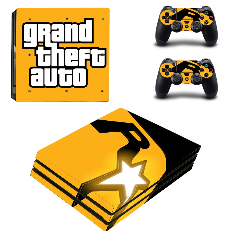 GTA 5 Vinyl Game Protective Skin Sticker For Playstation 4 Pro Decal Cover Sticker For PS4 Pro Console +2 Controller