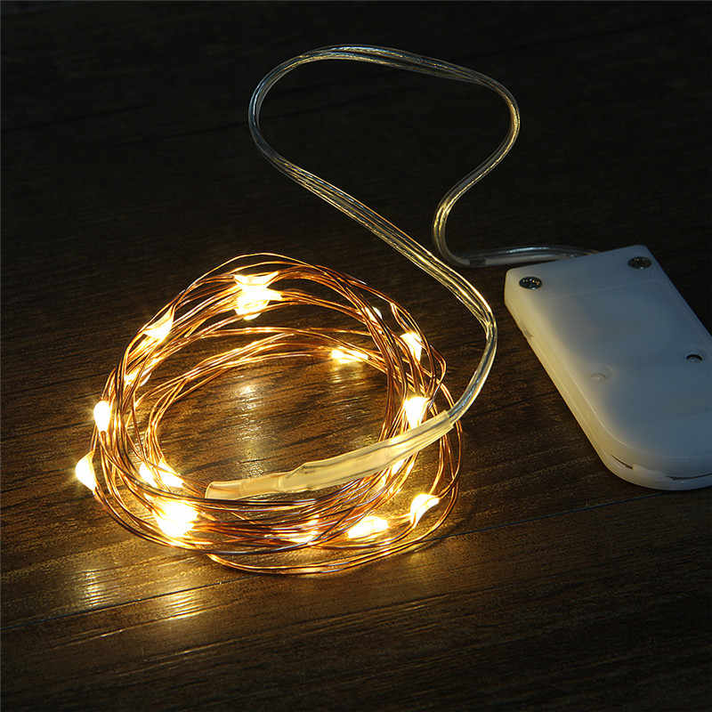 Copper Led Fairy Lights 1M 2M Leds CR2032 Button Battery Operated Garland LED String Light Xmas Wedding Party Decoration