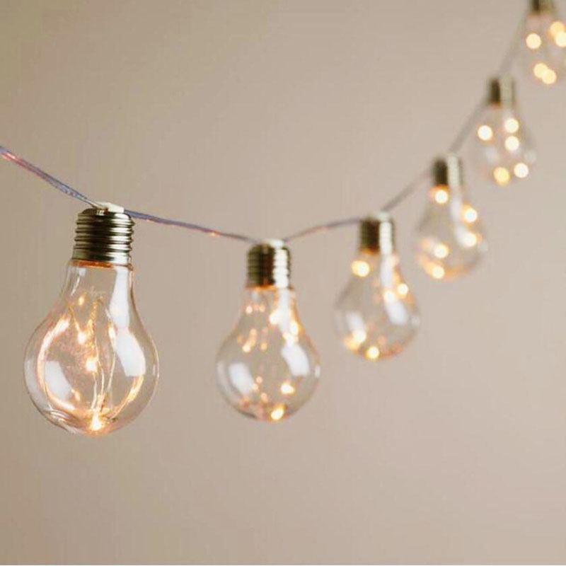 Led Copper Wire Bulb String Lights 10 Retro Bulbs 4m Aa Battery Home Curtain Fairy