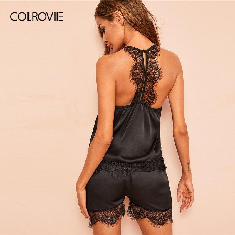 COLROVIE Black Solid Floral Lace Satin Cami PJ   Set   2019 Summer Sexy   Pajamas   For Women Sleeveless Sleepwear Ladies   Pajama     Set