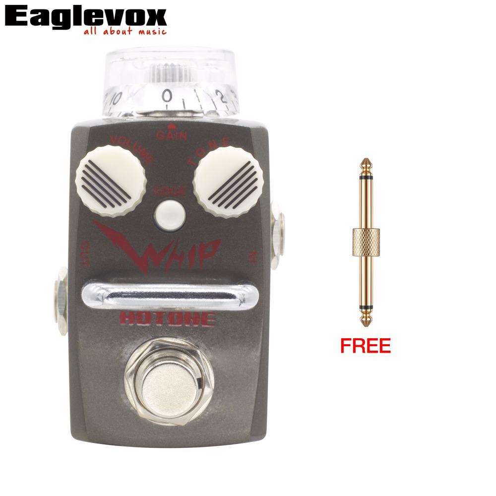Hotone WHIP Heavy Metal Distortion Effect Pedal Electric Guitar Bass True Bypass with Free Effect Pedal Connector mooer leveline volume pedal electric guitar bass effect pedal wvp1 with free connector and footswitch topper