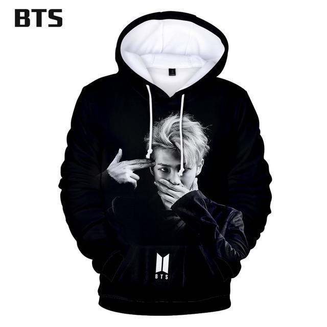 BTS Print Kawaii 3D Hoodies Sweatshirts Hot Sale Harajuku Long Sleeve Women Clothes 2018 Kpop Hooded Tops Plus Size Q0331-Q0336