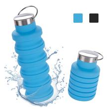 500ML Reuseable BPA Free Silicone Foldable Sports Bottles for Travel Camping Outdoor and Gym, Leak Proof  Portable Sports Bottle
