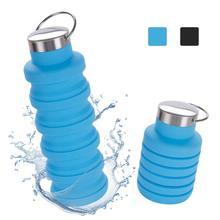 Botellas deportivas plegables de silicona sin BPA reutilizables de 500ML para viajar de Camping al aire libre y al gimnasio, botella deportiva portátil a prueba de fugas