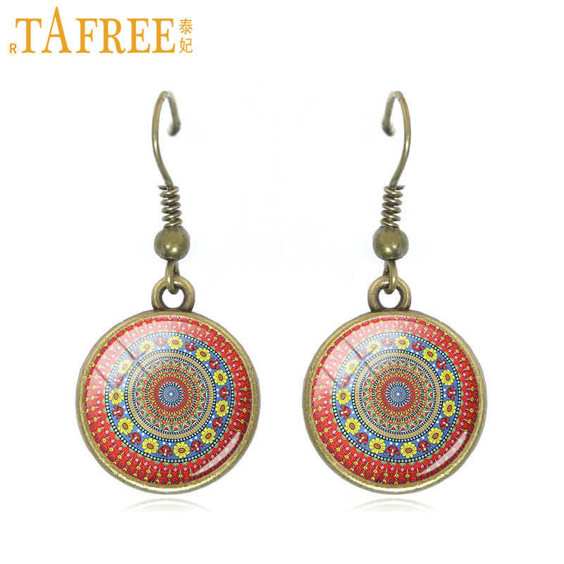 TAFREE Hippie Mandala Drop Earrings Pompom Bohemian Paisley  Meditation dangle earrings art picture glass round jewelry A448
