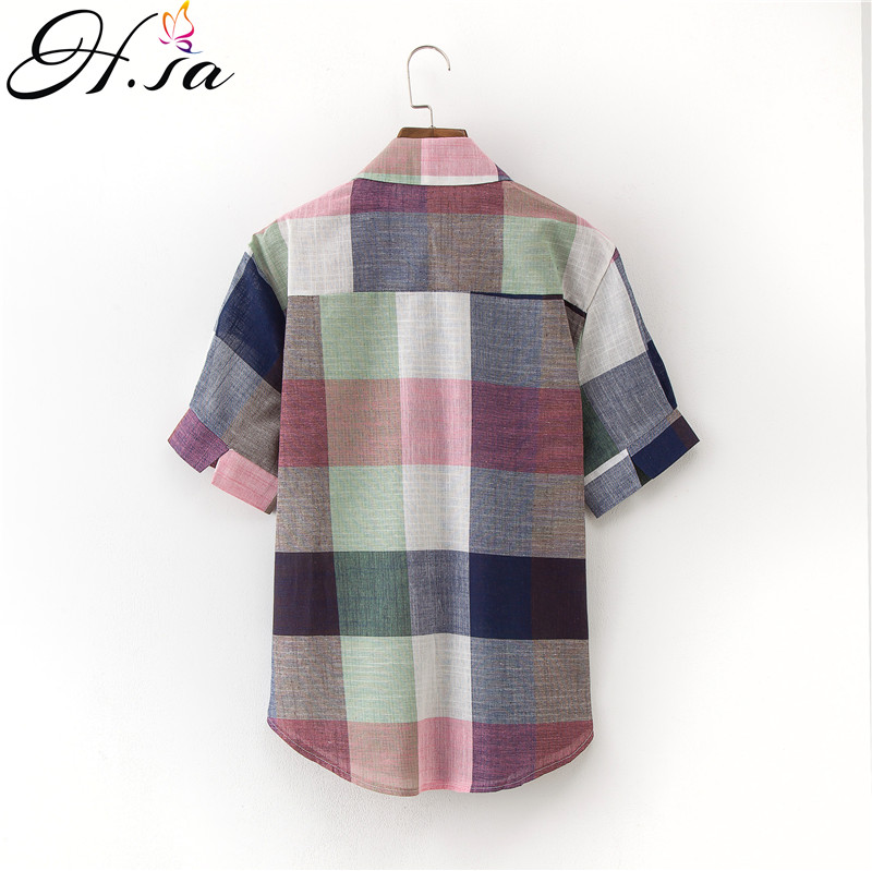 H.SA Women Tops and Blouses Colorful Plaid Patchwork Shirts 2018 Vintage blusa feminina Formal Blusas Tops Pocket chemise femme