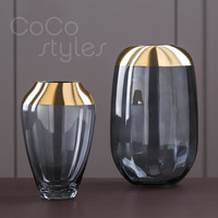 Cocostyles InsFashion super luxury handmade copper glass vase with for high class french style 5 star hotel decor