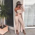 2016 Outono Elegantes Mulheres Macacão Macacão sem mangas Camurça Duas Peças Outfits Bodysuit fora do ombro Sexy Clube Bodycon Playsuit