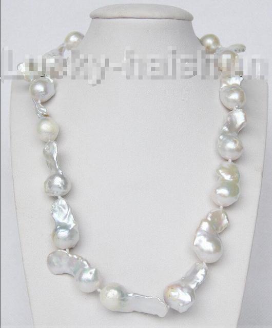 "Venda Hot new Style >>>>> luster 18 ""35mm branco Renascer keshi pérolas colar 925 fecho de prata j9368"