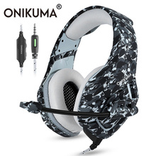 ONIKUMA K1 Casque Camouflage PS4 Headset Bass Stereo Gaming Headphones with Mic for New Xbox One Cell Phone PC Laptop