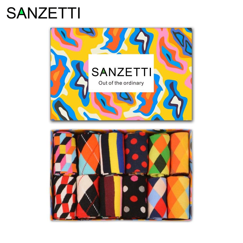 SANZETTI 12 pairs/lot Gift Box Fashion Mens Combed Cotton Stripe Diamond Pattern Crew Skateboard Socks Classic Colorful Socks