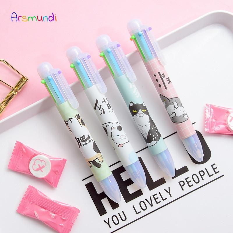 Arsmundi 6 в 1 Kawaii многоцветная шариковая ручка Multi Функция красочные Канцтовары творческий школьные принадлежности приз для ребенка