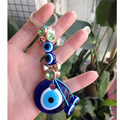 Turkish Evil Eye Key Chain Nazar Key Ring Handmade Glass Charm Protector Good Luck Arabic Islamic Jewish Jewelry Crystal