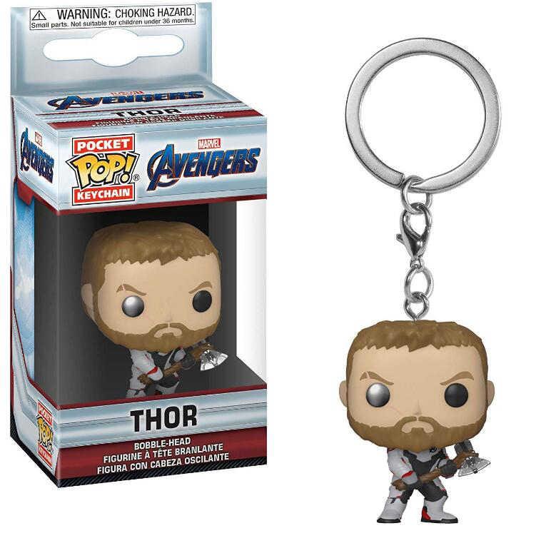 Funko POP Gantungan Kunci Mainan Avengers: Endgame Gantungan Kunci Roket Thanos Thor PVC Action Figure Collectible Model Mainan untuk Chlidren