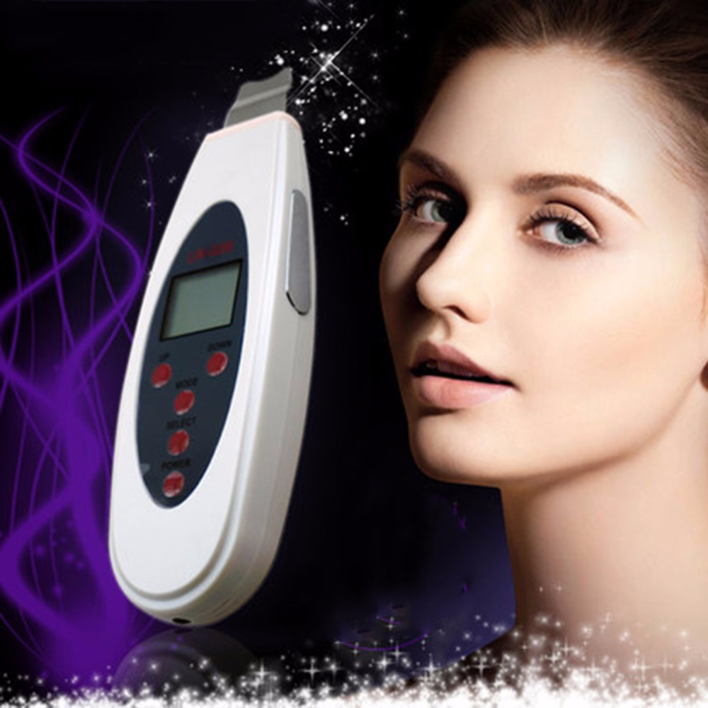 EU Portable Ultrasonic Facial Cleaner Face Care Tool LCD Digital Acne Removal Skin Cleaning Ultrasound Peeling Spa Beauty LW006 anti acne pigment removal photon led light therapy facial beauty salon skin care treatment massager machine